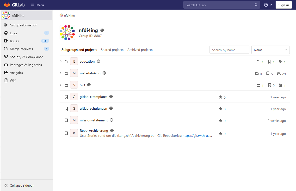 Gitlab-Screenshot